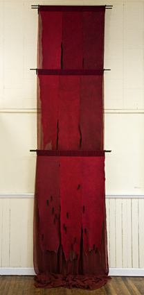 Janice Wright-Cheney, 'Escarlata: Letting Blood', cochineal dye, wool, silk, iron rods, 2007